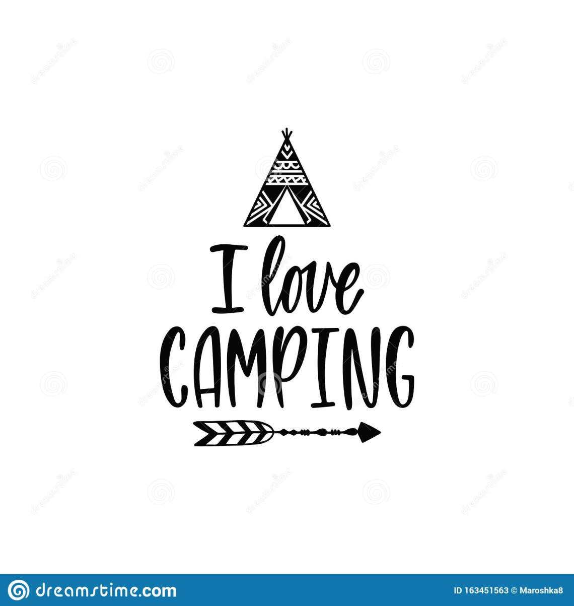 Download Inspirational Vector Lettering Phrase: I Love Camping ...