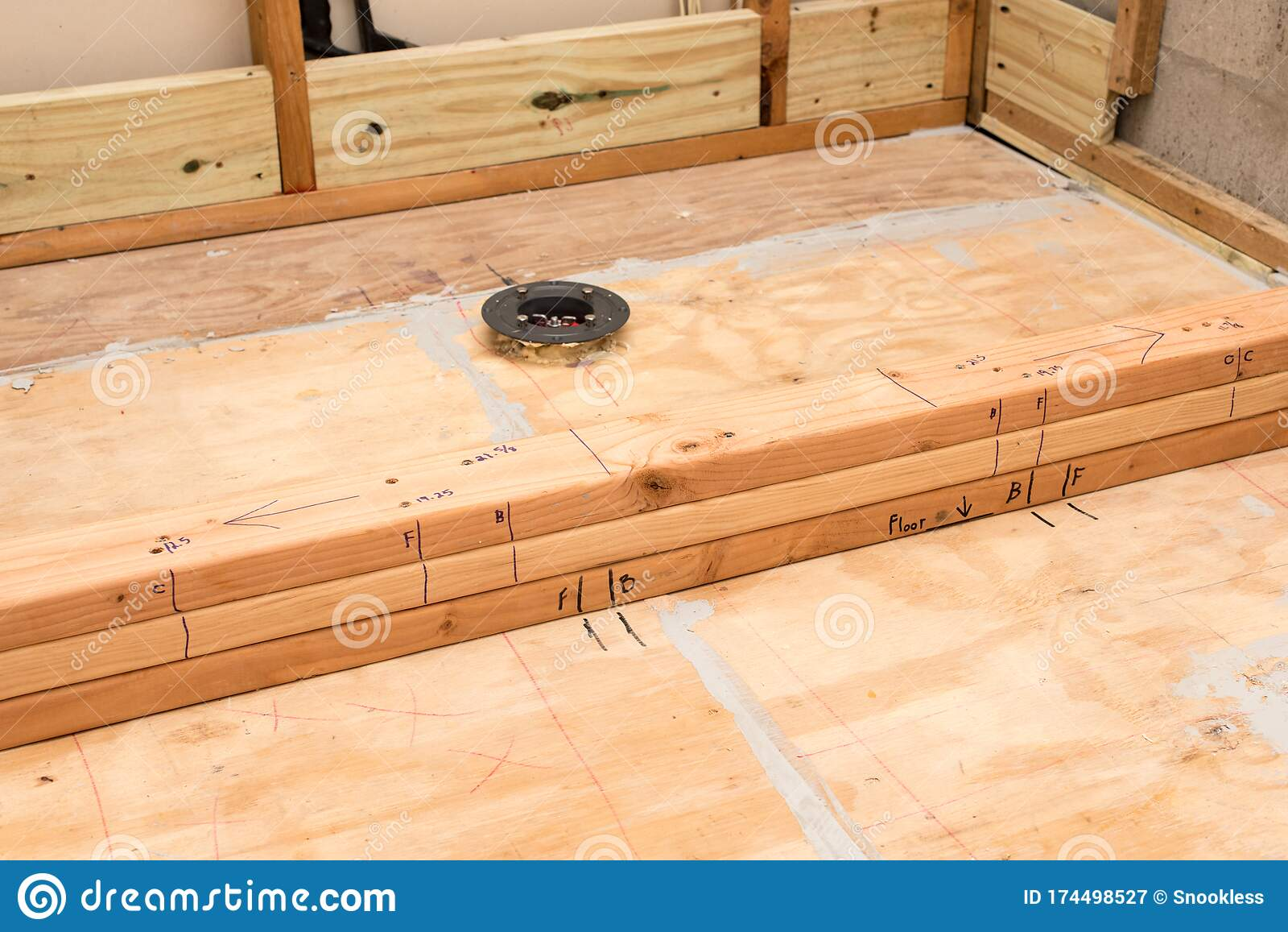 https www dreamstime com installation new shower drain subflooring new curb installation bathroom remodel new shower floor drain image174498527