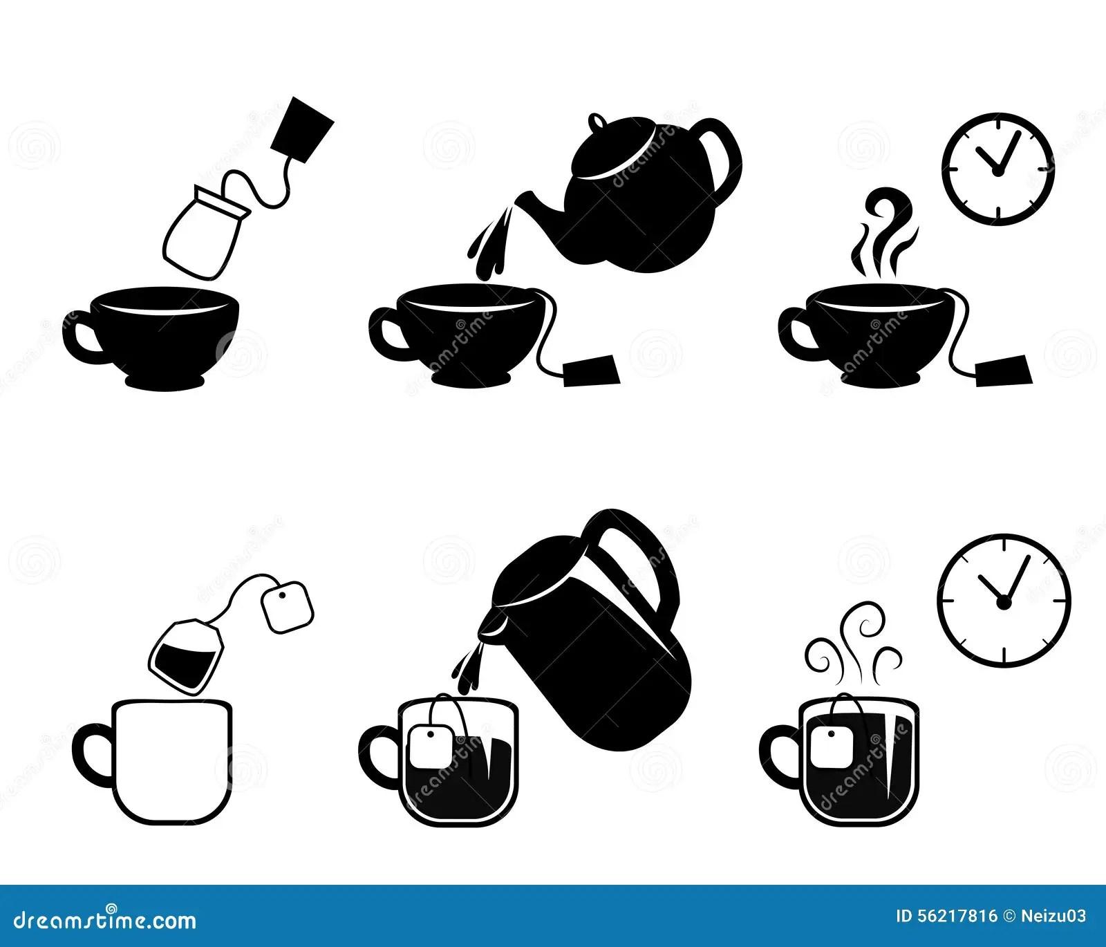 Instruction Of Making Tea Stock Illustration Illustration