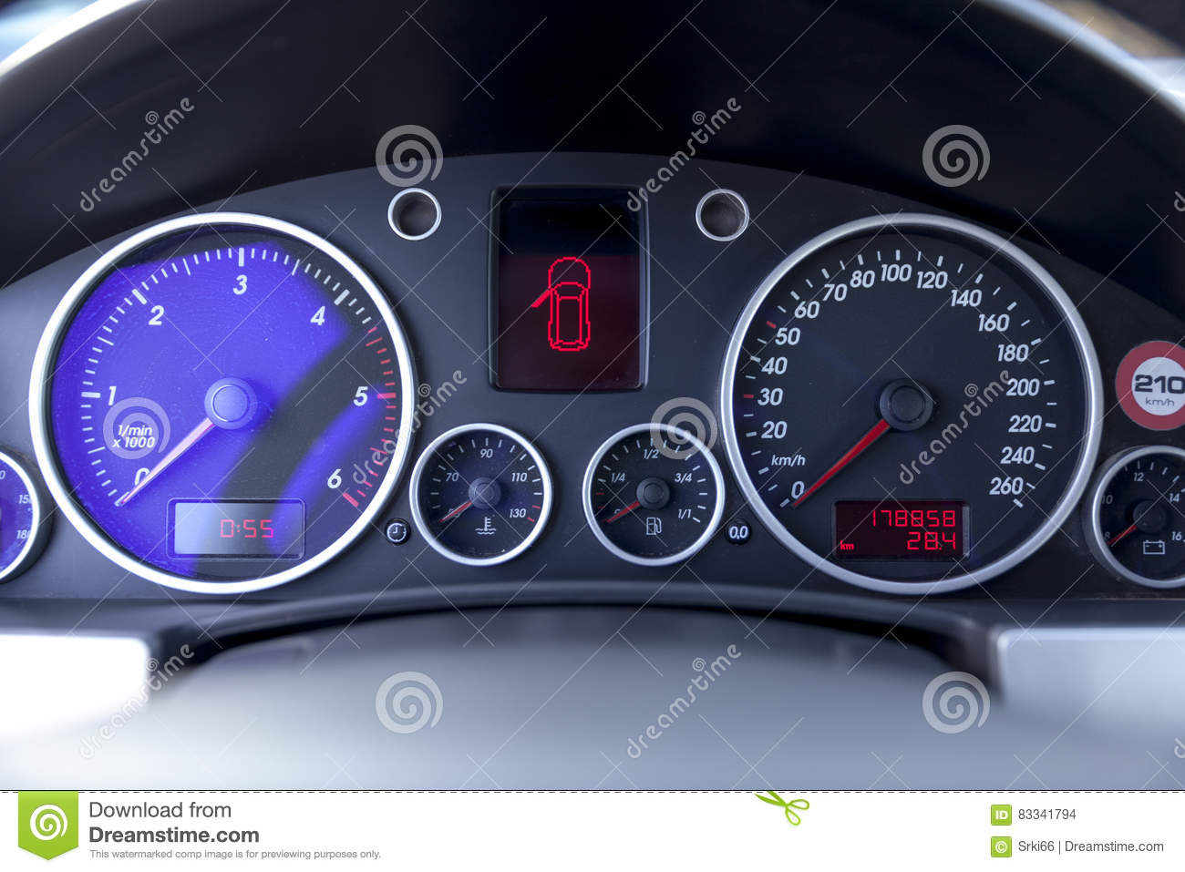 Instrument Panel In The Car Stock Photo