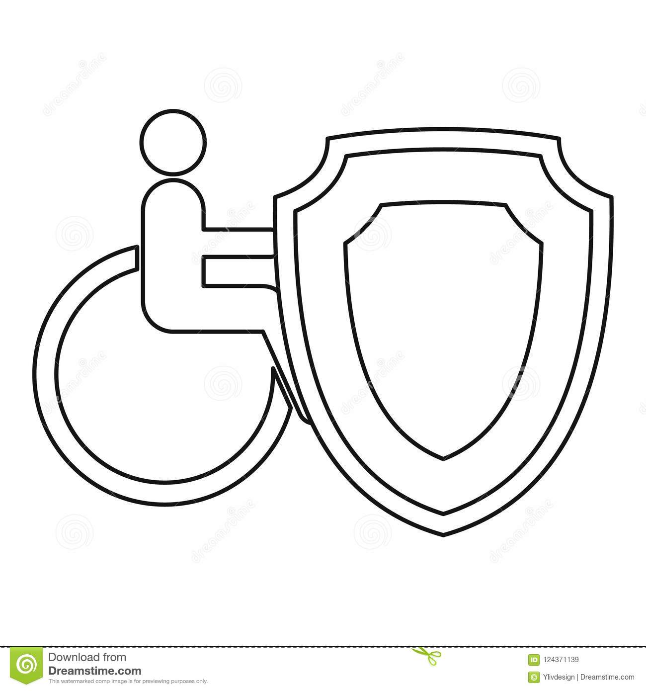Insurance Disabled Concept Icon Outline Style Stock