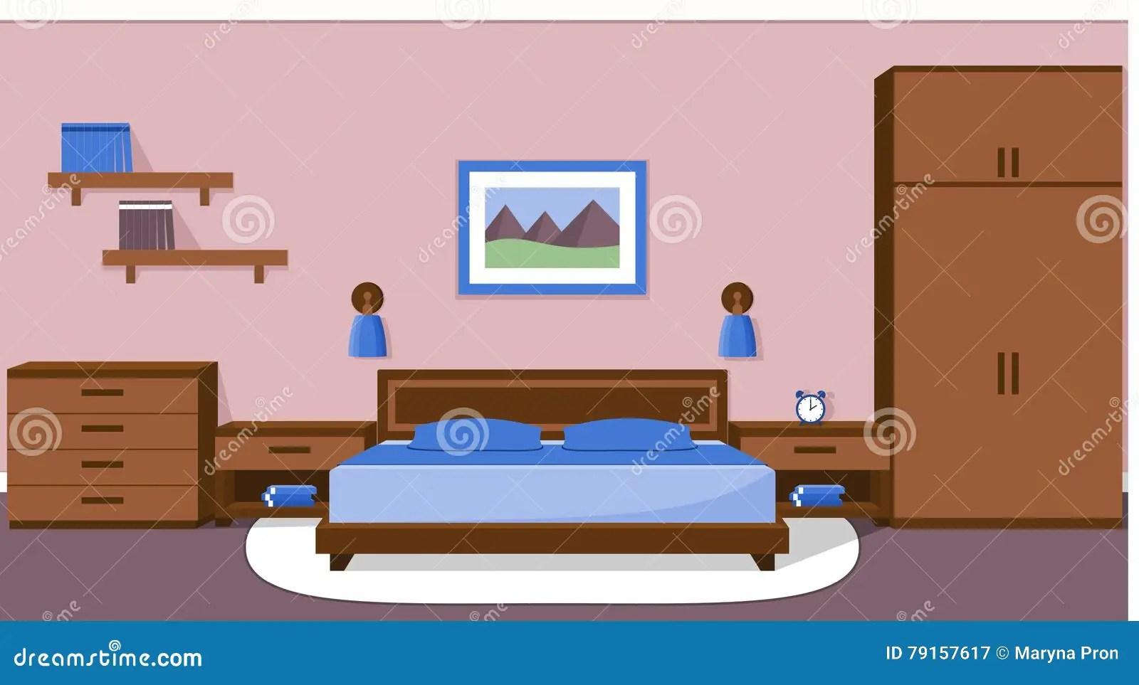 interieur de chambre a coucher dans des couleurs bleues illustration de vecteur illustration de vecteur illustration du coucher chambre 79157617