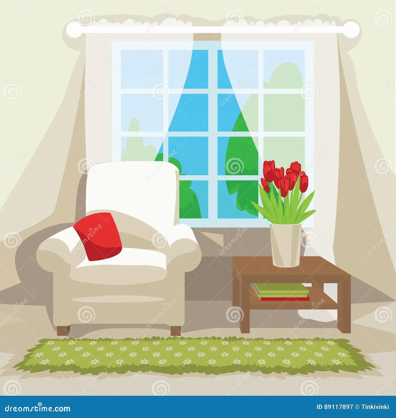 interieur de piece de ressort le fauteuil blanc confortable avec l oreiller rouge table basse avec la tulipe rouge fleurit fenetre derriere