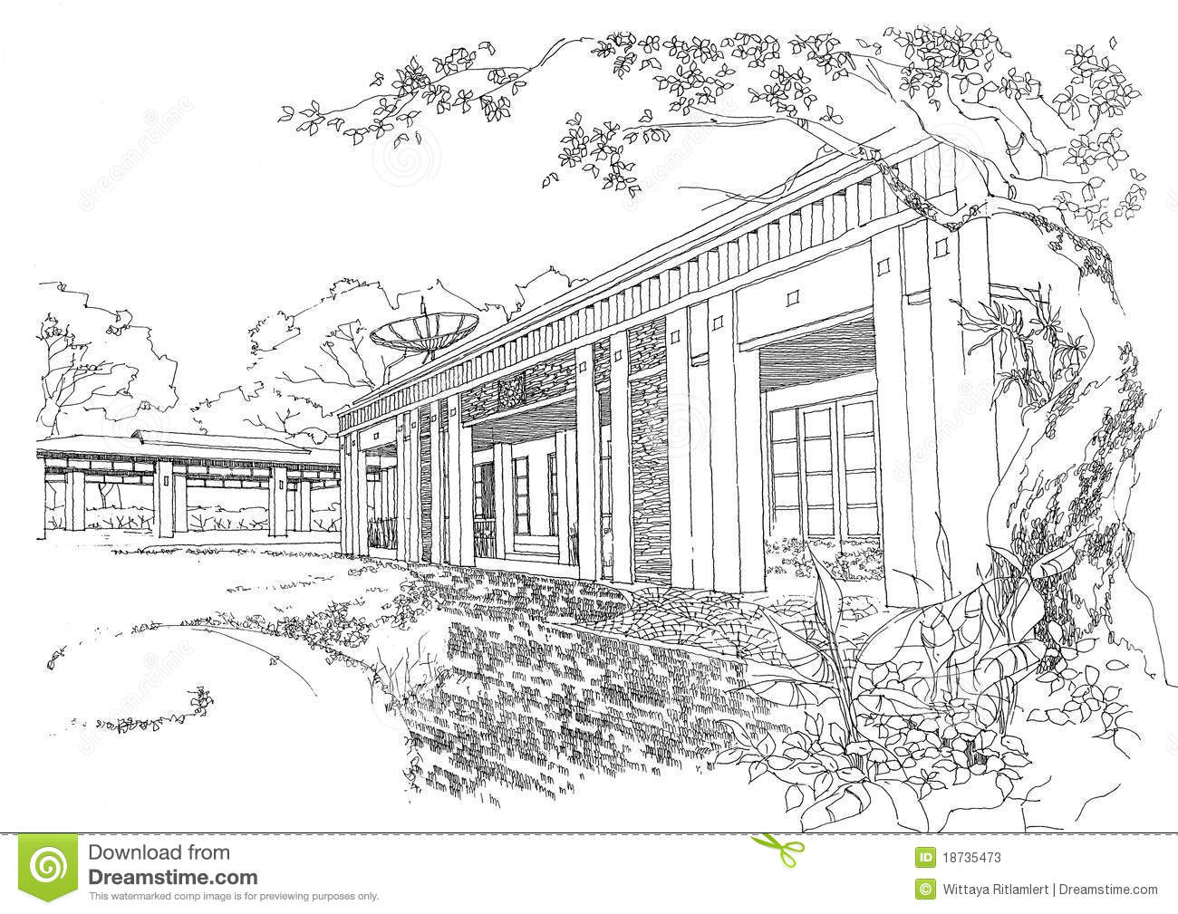 Interior Architecture Construction Landscape Sketch Stock