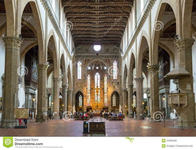 The Interior Of The Basilica Of Santa Croce In Florence  Italy     Download The Interior Of The Basilica Of Santa Croce In Florence  Italy  Editorial Stock Photo