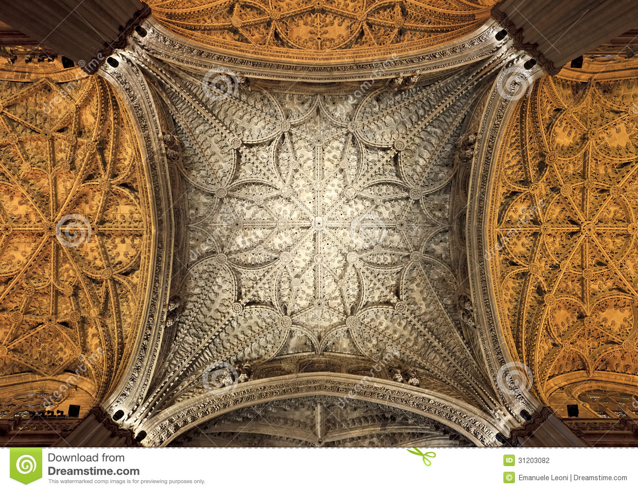 Interior Ceiling Of Cathedral Of Seville Andalusia Stock