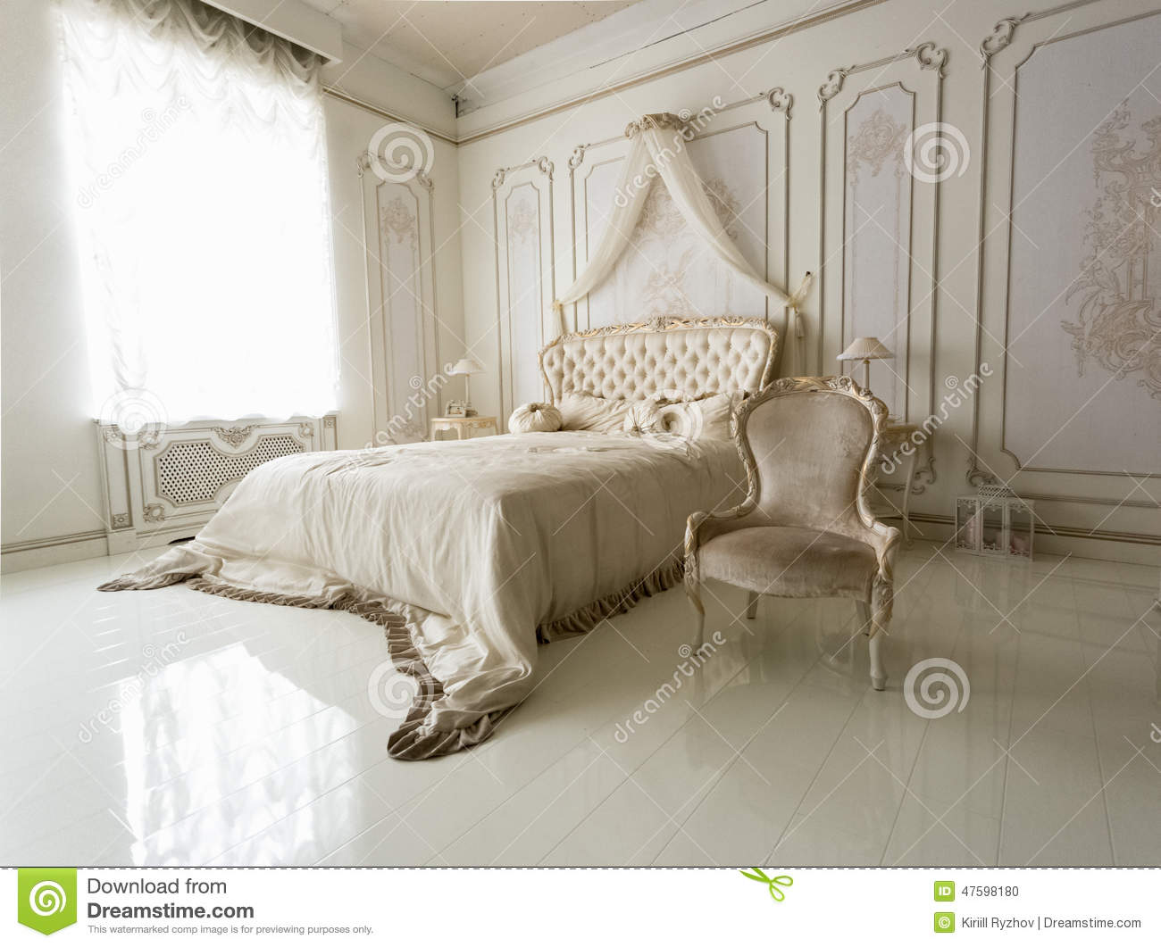 Interior Of Classic White Bedroom With Big Bed And Chair Stock Photo Image 47598180
