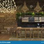 Interior Design Of A Cafe Or Restaurant Ethnic Retro Style With A Bar Counter And Decorations Of Luminous Garlands And Wicker Stock Illustration Illustration Of Commercial Decoration 157266380