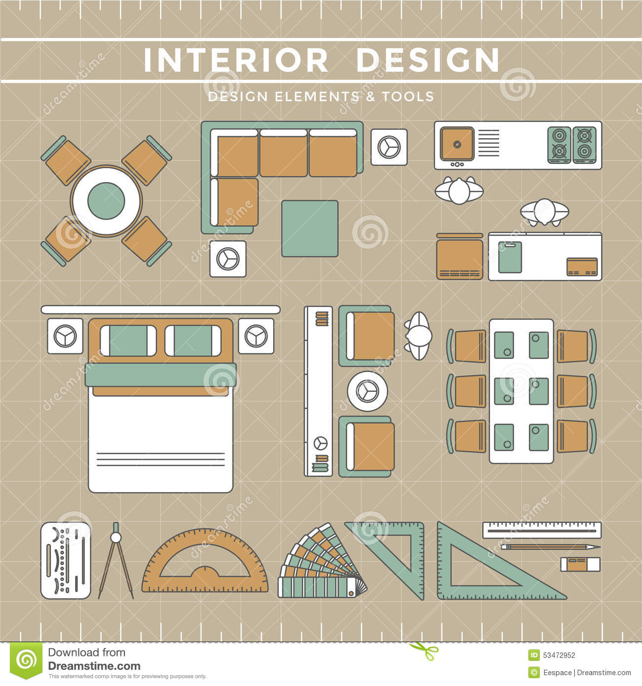 Interior Design Layout Amp Tools Stock Vector Image 53472952