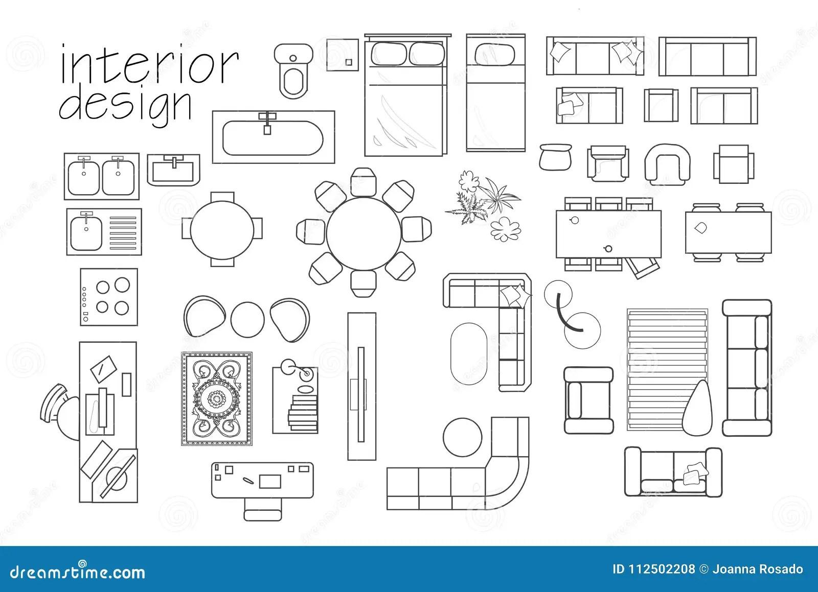 `interior Design Floor Plan Symbols. Top View Furniture