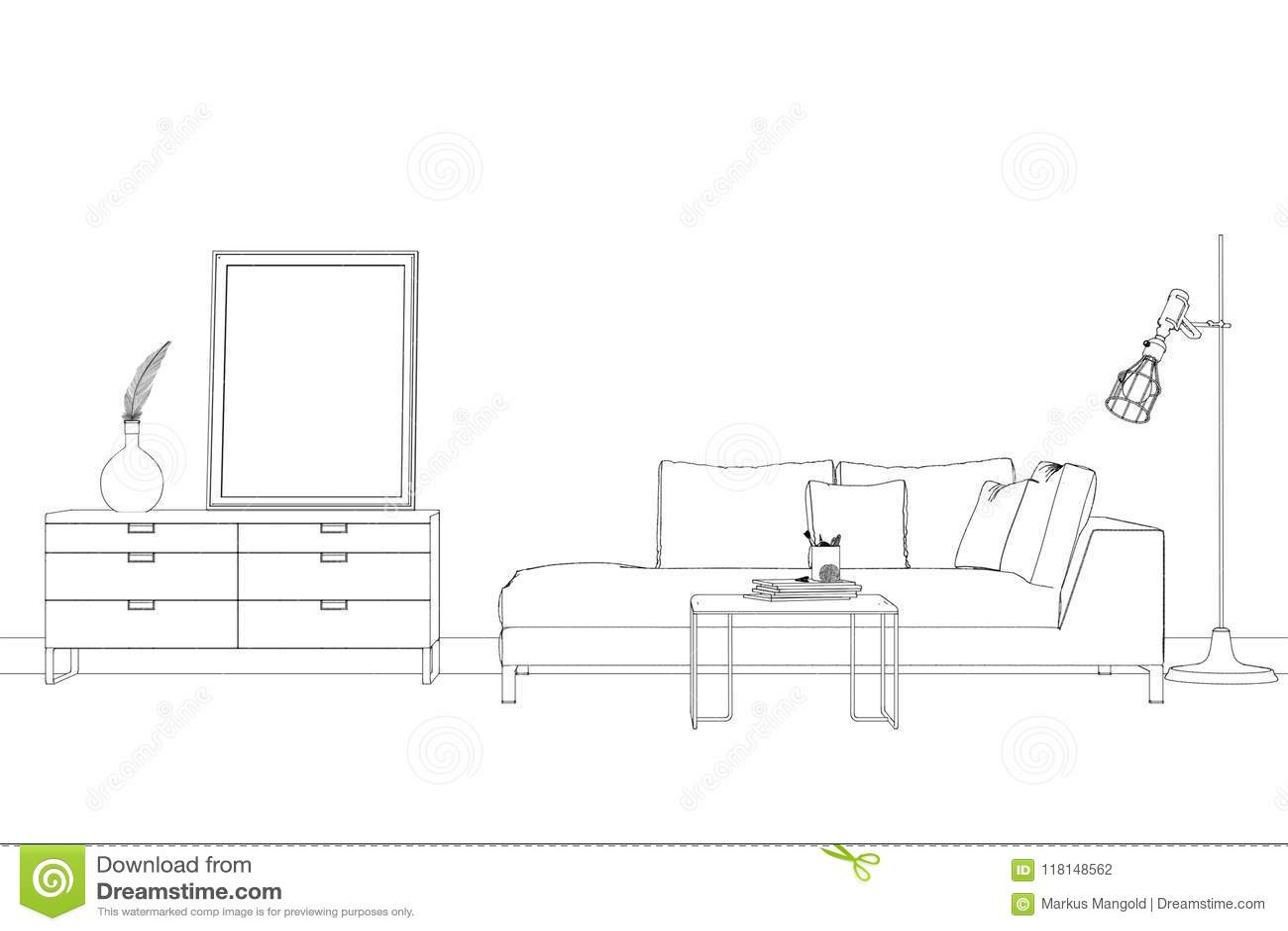 Interior Design Living Room Custom Drawing Stock