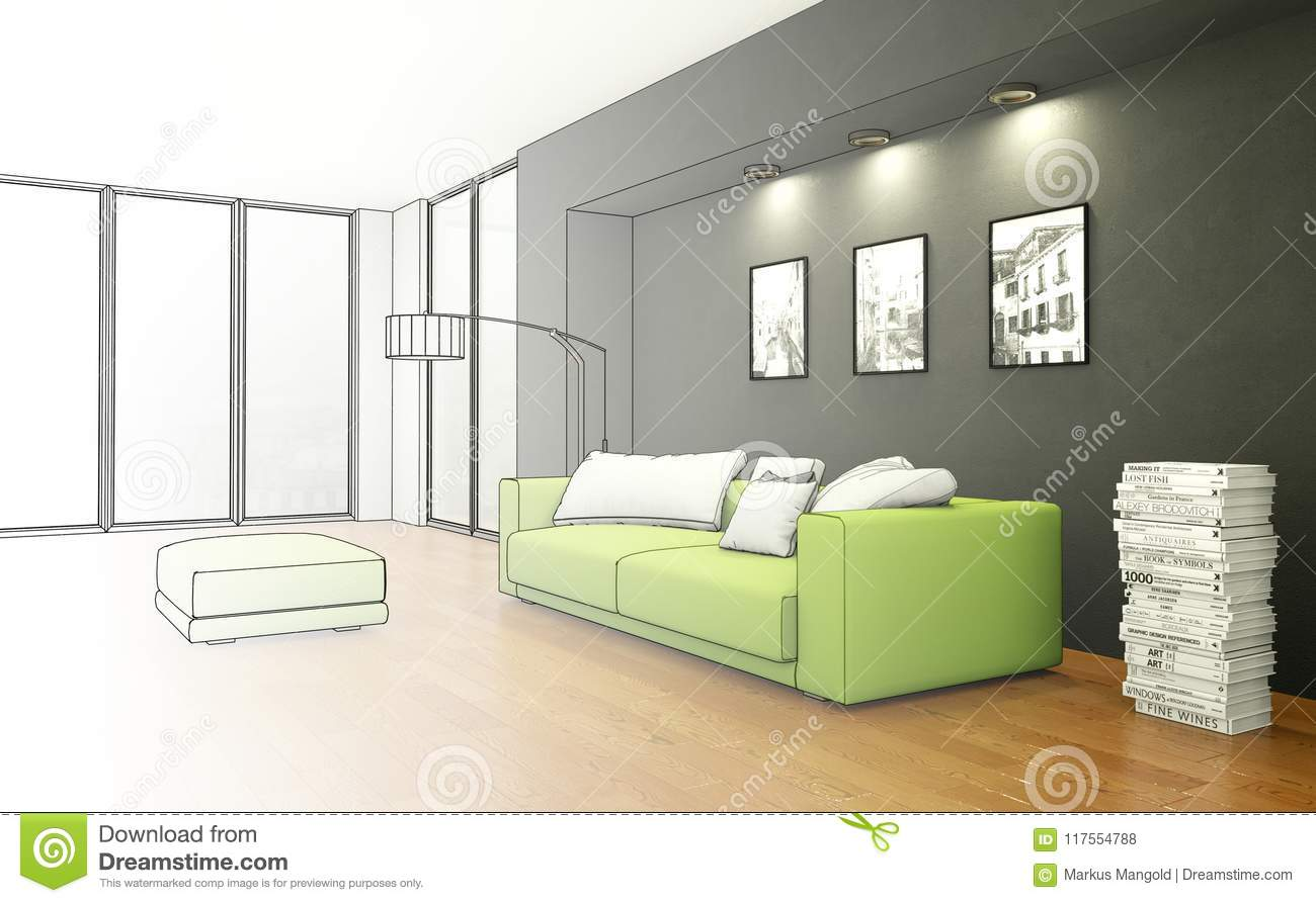 Decoration Interior And Exterior House Design Living Room Drawing Gradation Into Photograph Stock Of