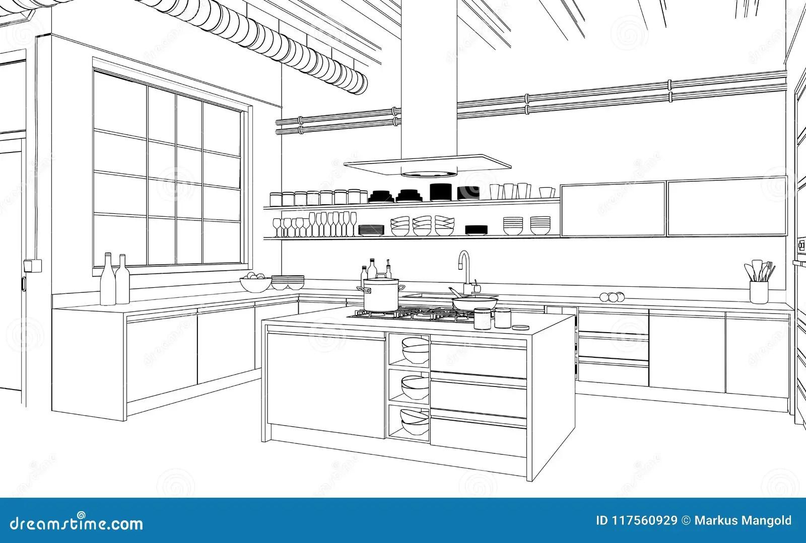 Interior Design Modern Kitchen Drawing Plan Stock
