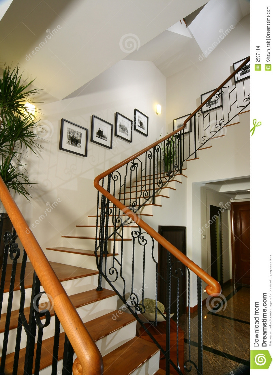 Interior Design Stairs Stock Photo Image Of Wood Painting   Home Interior Stairs Design   Stylish   Upstairs   Luxury   Classic   L Shaped