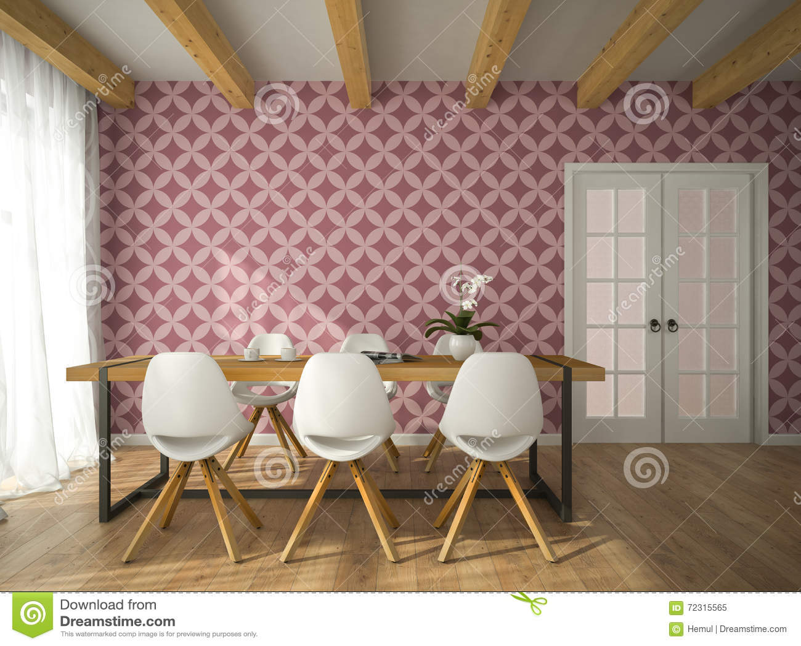Originali carte da parati design perfetti per qualsiasi ambiente. Interior Of Dining Room With Vinous Wallpaper 3d Rendering Stock Illustration Illustration Of Comfort Ceiling 72315565