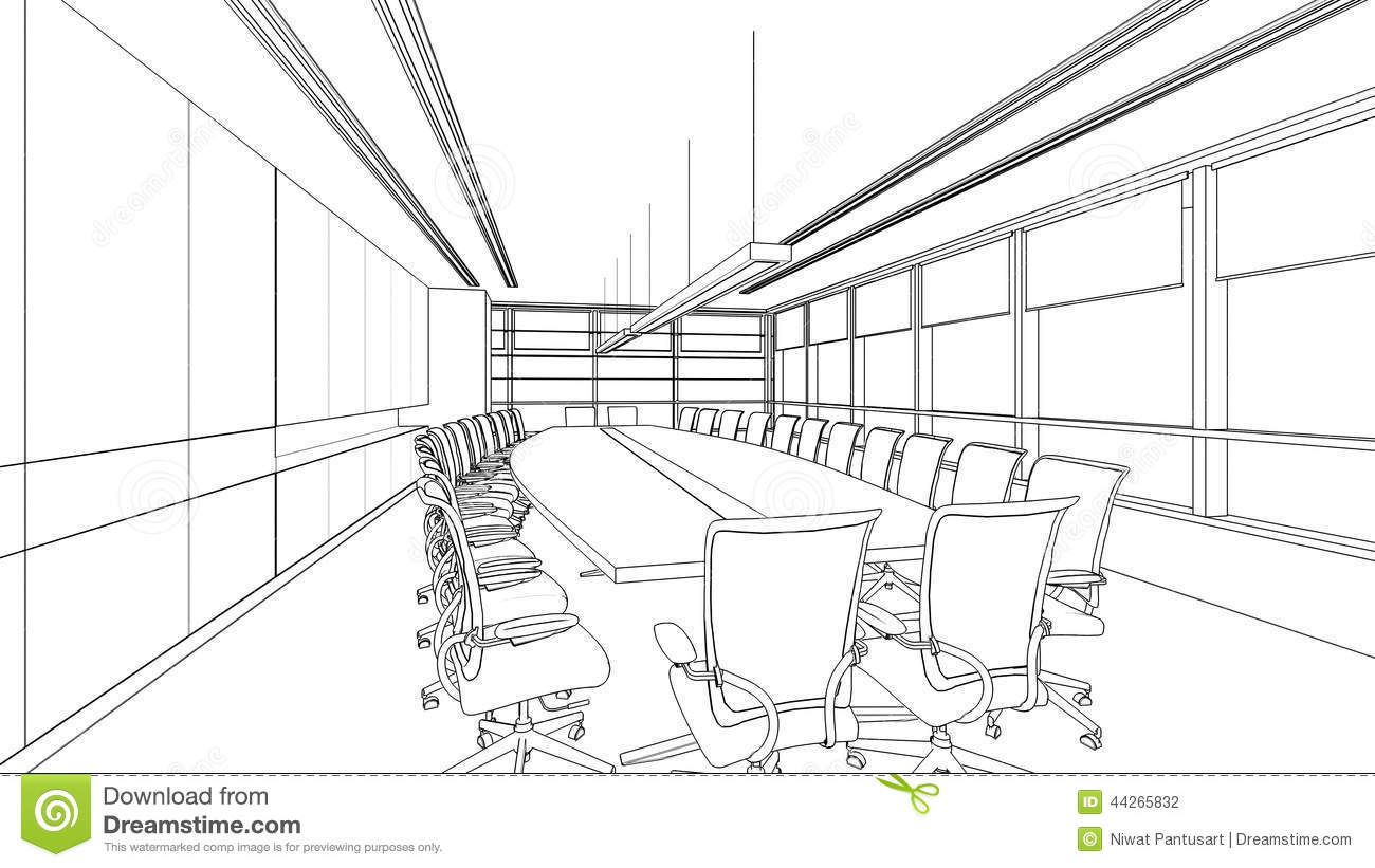 Interior Drawing Sketch With Clipping Path Stock Vector