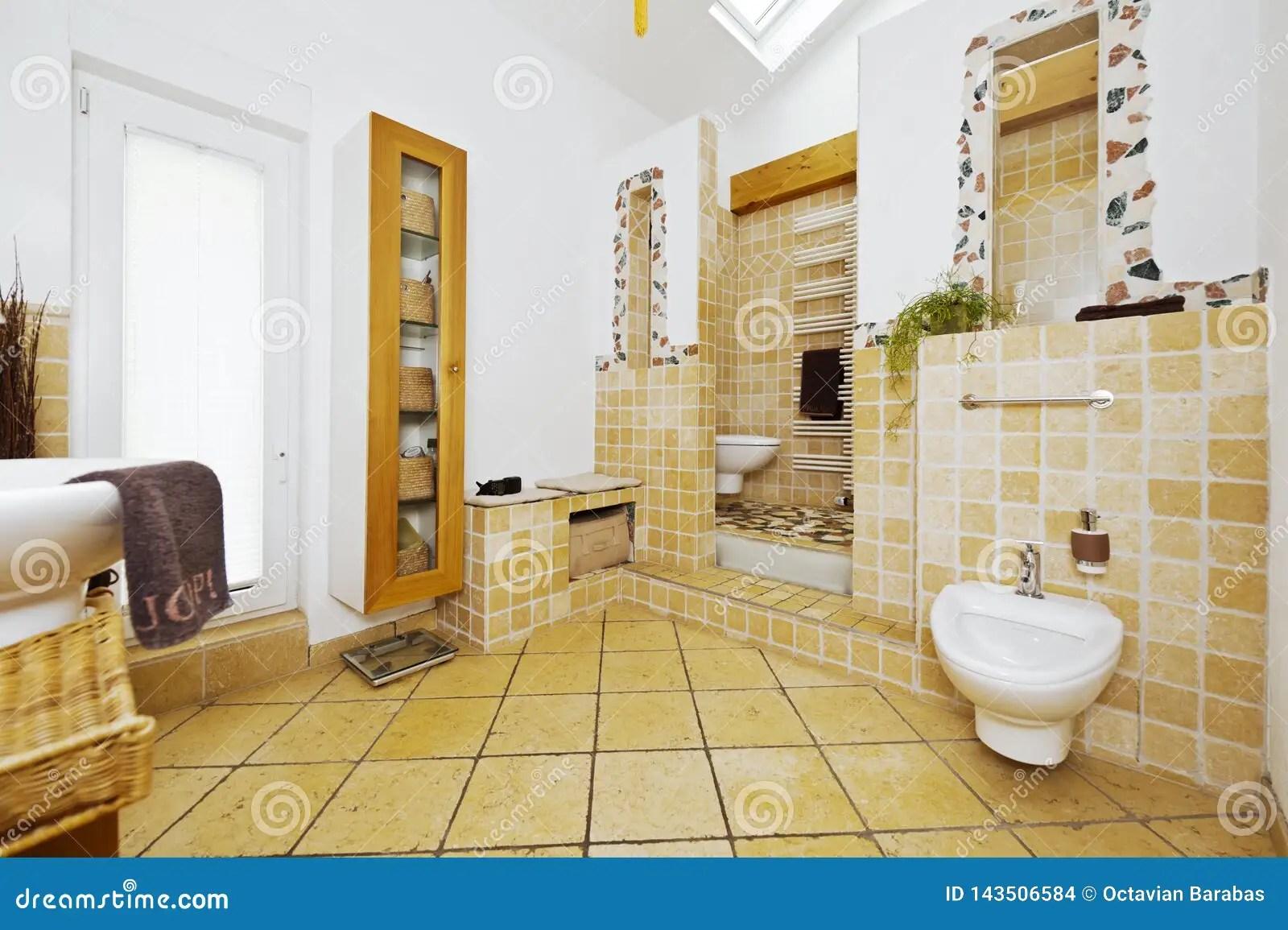 https www dreamstime com interior modern bathroom mediterranean style tiles interior modern bathroom mediterranean style tiles warm image143506584