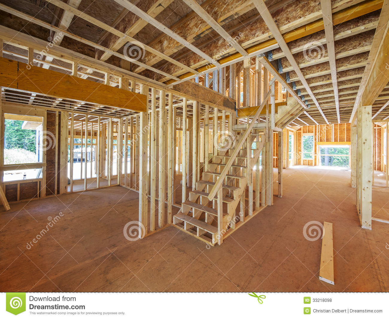 Interior New House Framing Stock Photo Image Of View 33218098