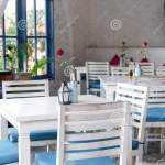 Interior Of Outdoor Greek Restaurant With White And Blue Chairs Stock Photo Image Of Greek Luxury 130287852