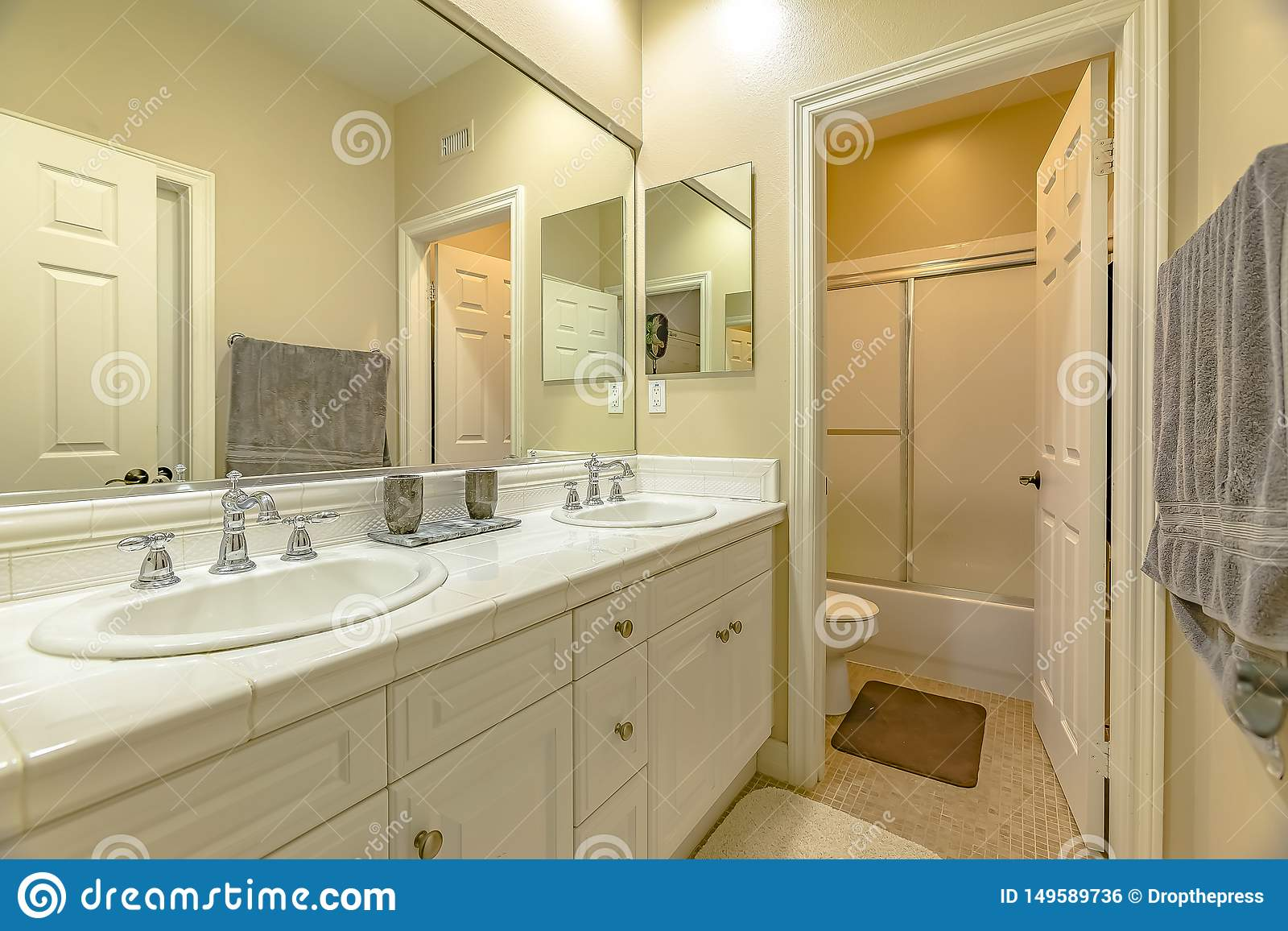 https www dreamstime com interior small bathroom double sink vanity area wood cabinets interior small bathroom double sink image149589736