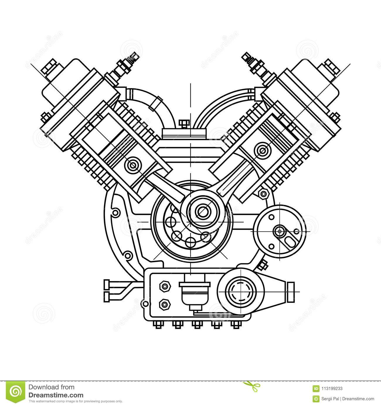 An Internal Combustion Motor The Drawing Engine Of The