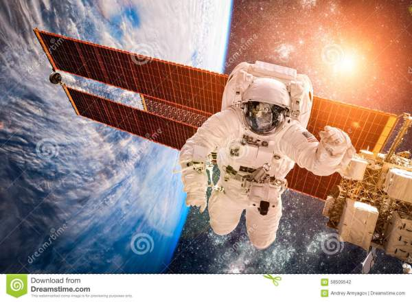International Space Station And Astronaut. Stock Photo ...