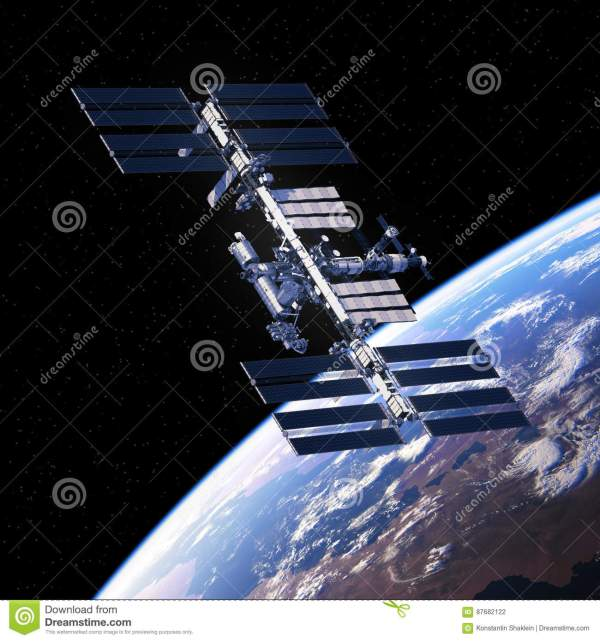 International Space Station Orbiting Planet Earth Stock ...