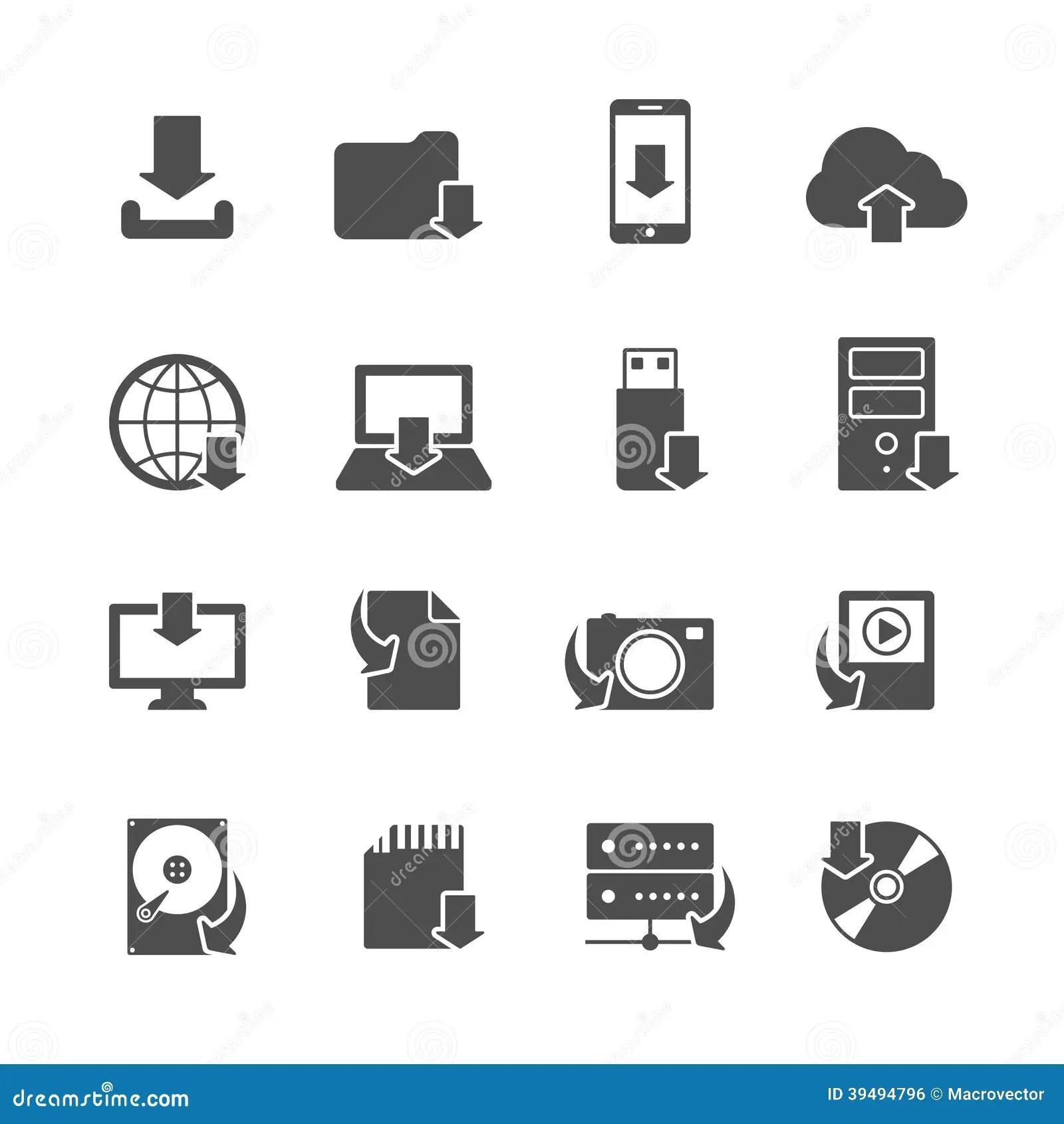 Internet Download Symbols Icons Set Stock Vector