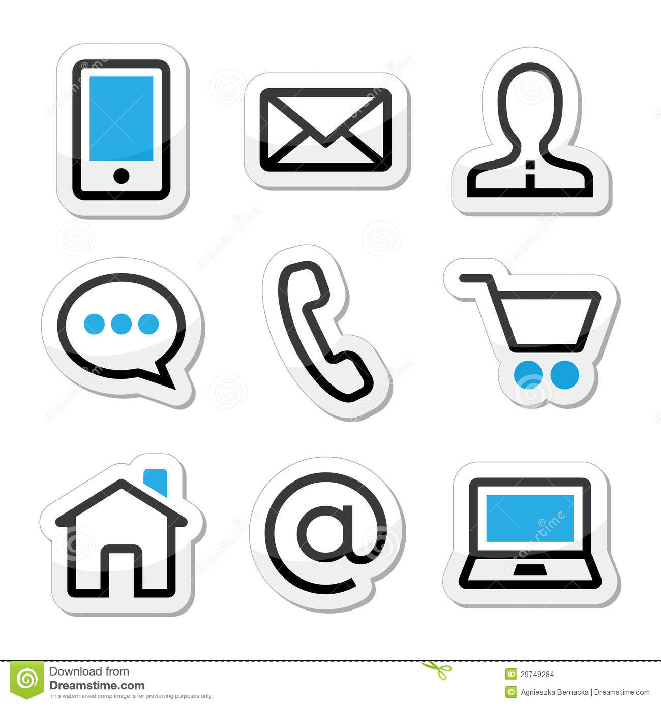 Contact Web Page Stroke Icons Set Stock Illustration