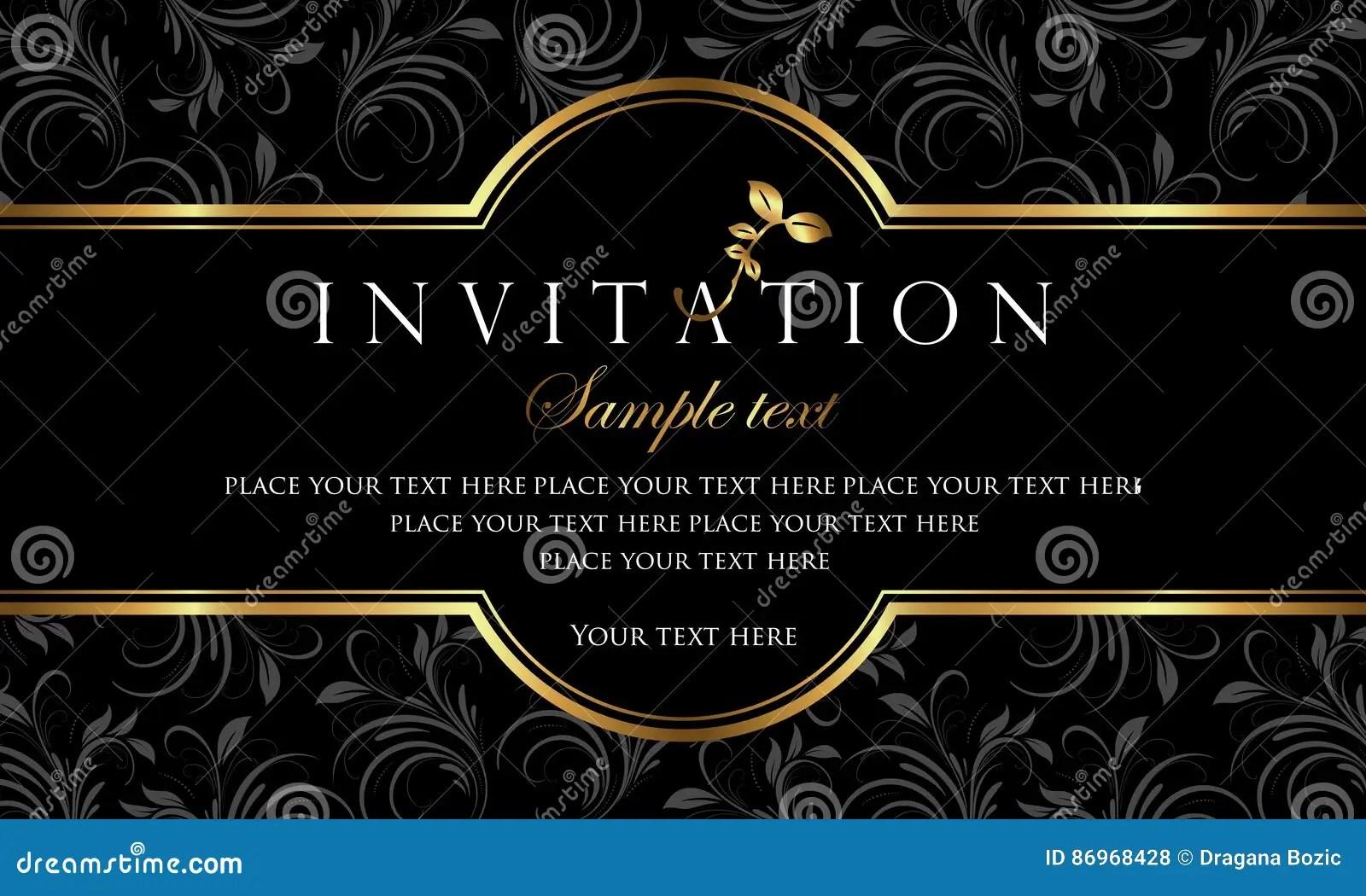 Invitation Card Design Luxury Black And Gold Retro Style Stock Vector Illustration Of Golden