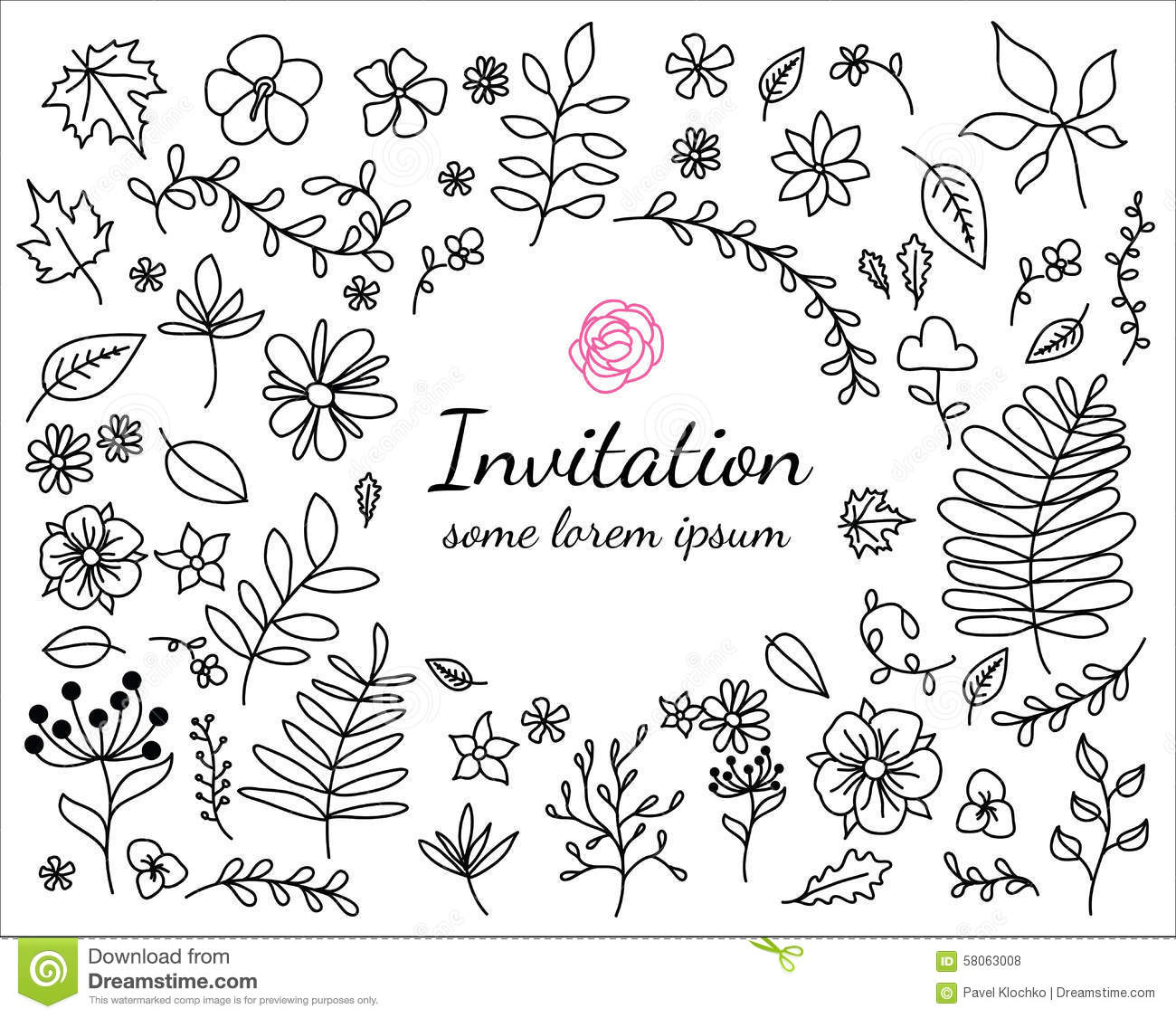Invitation Card With Hand Drawn Floral Elements Stock Vector