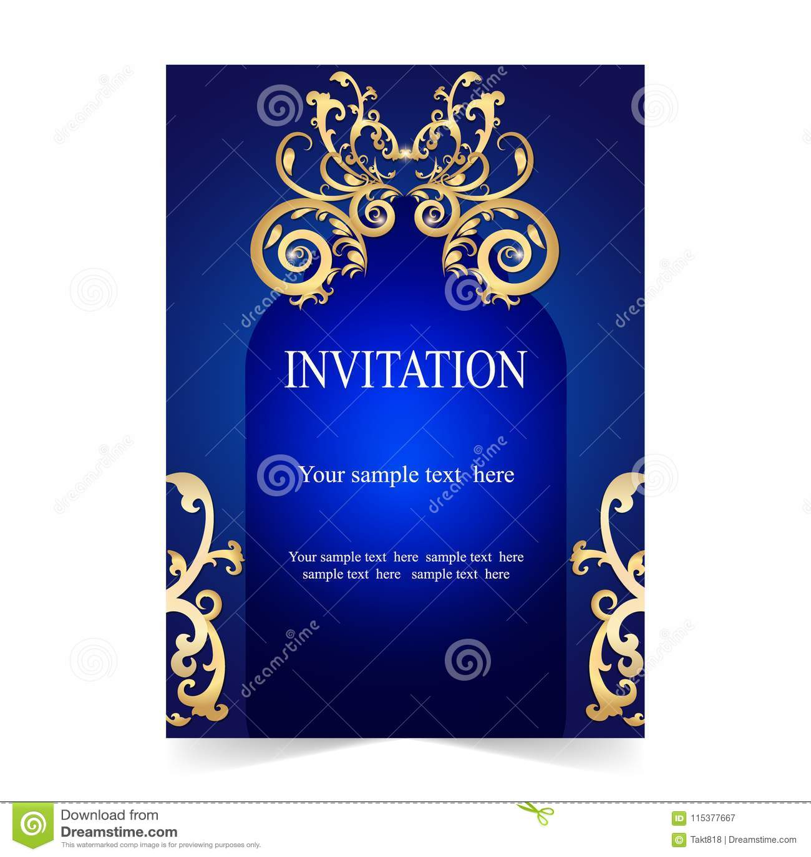 https www dreamstime com invitation card wedding card blue background invitation card wedding card ornamental blue background retro style image115377667