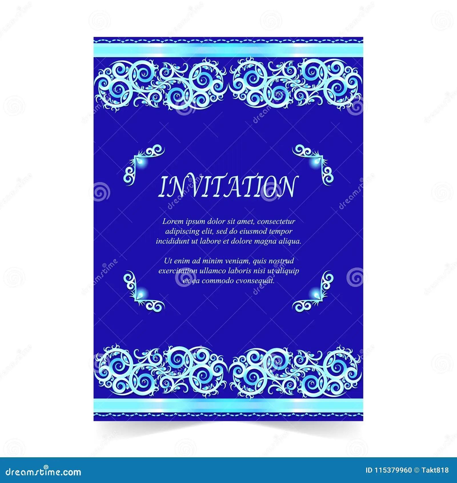 https www dreamstime com invitation card wedding card ornament royal blue invitation card wedding card ornament royal blue background image115379960