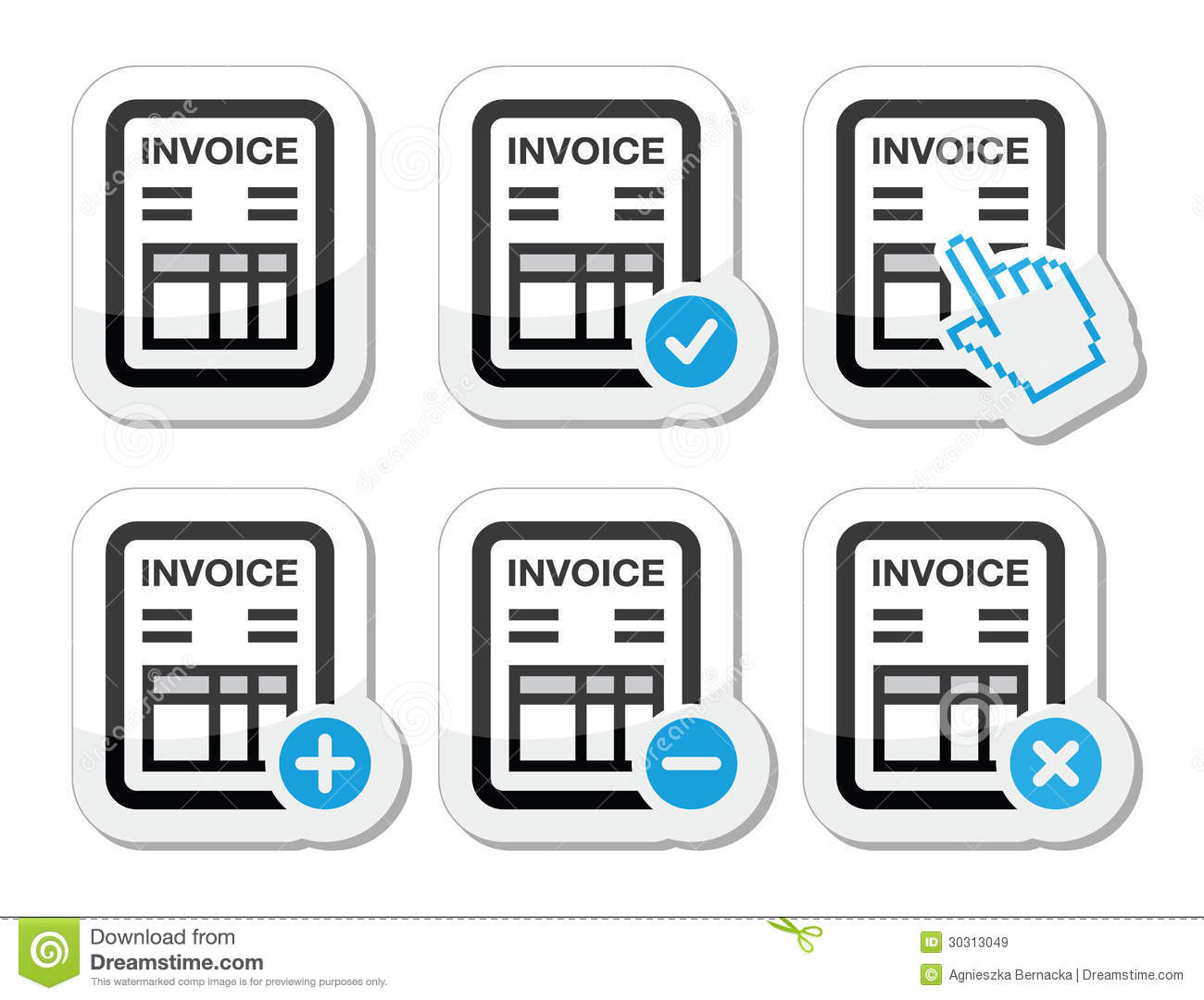 Invoice Finance Vector Icons Set Stock Vector