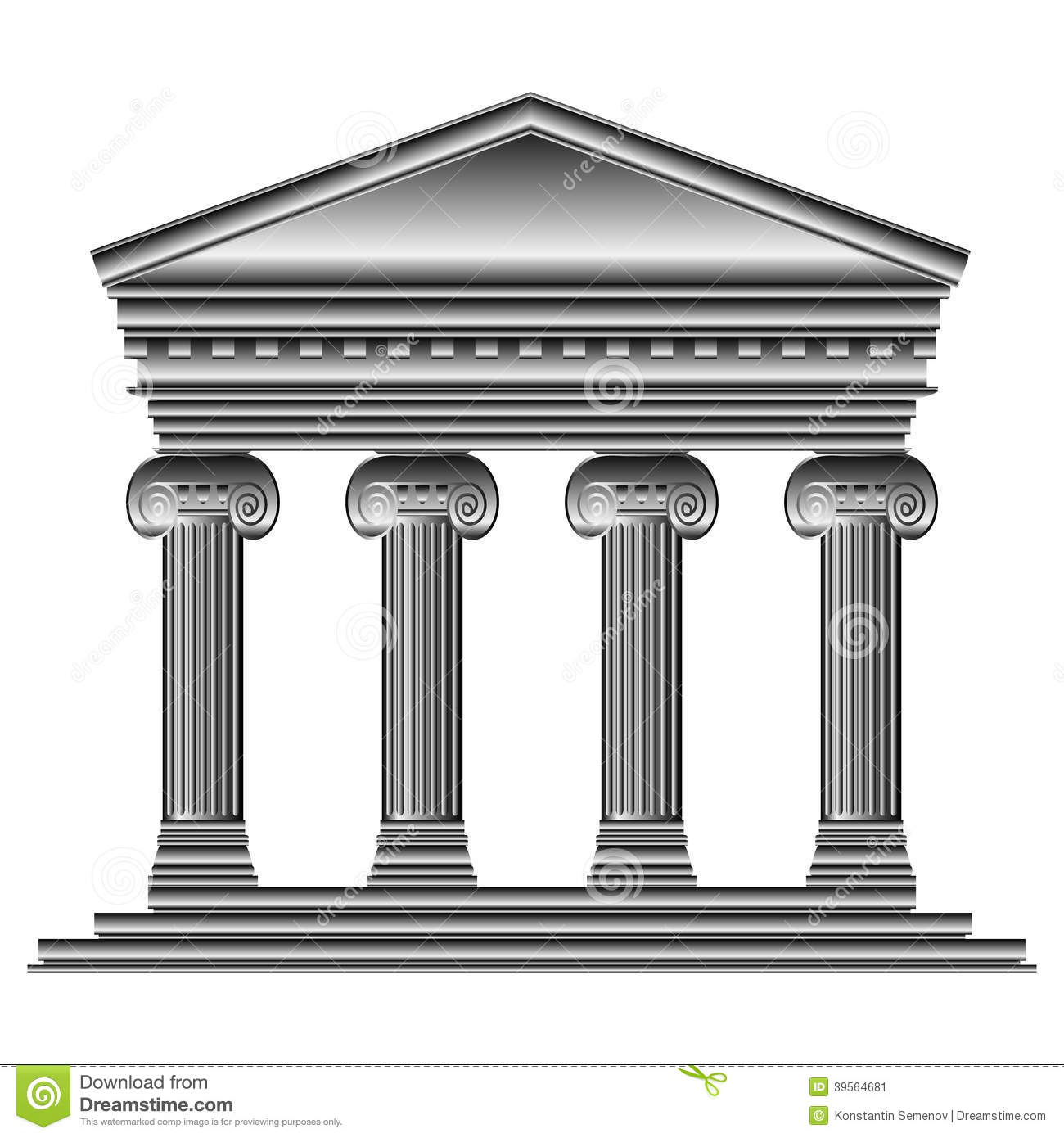 Ionic Temple Stock Vector Illustration Of Design Ancient