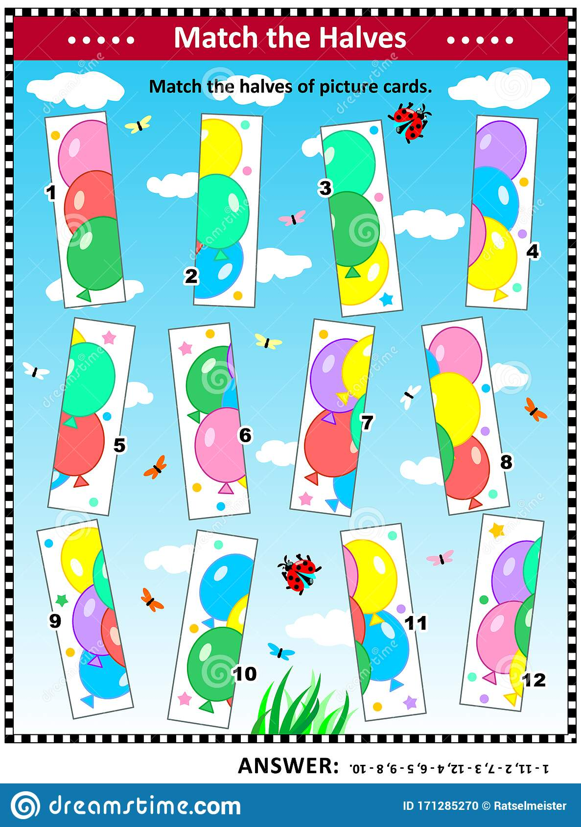 Visual Puzzle Or Picture Riddle With Colorful Balloons