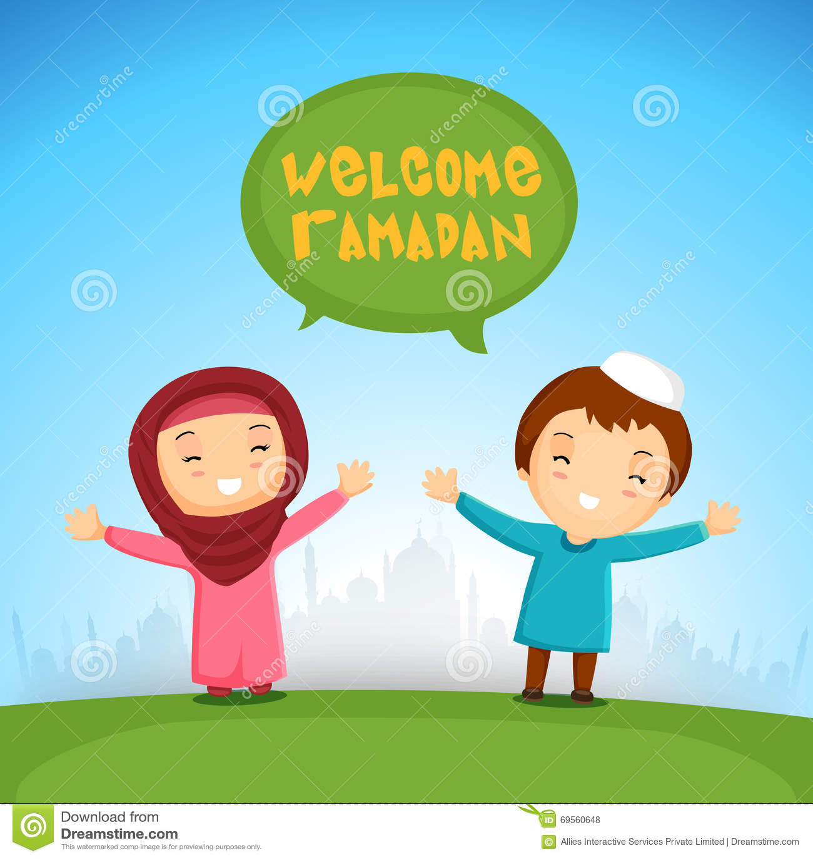 Islamic Kids Welcoming Ramadan Kareem Stock Illustration
