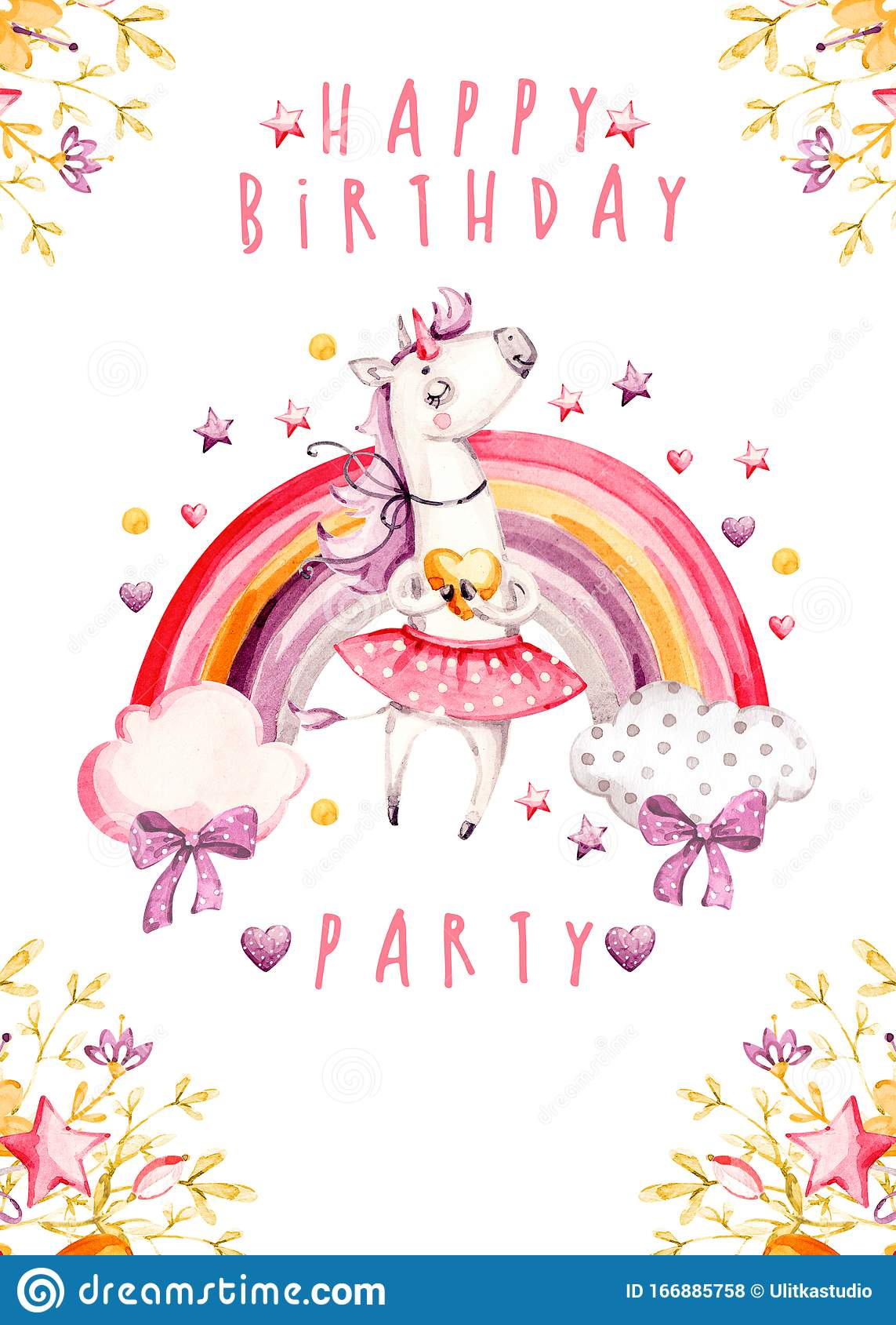 https www dreamstime com isolated cute watercolor unicorn birthday invitation card nursery unicorns rainbow illustration princess unicorns isolated image166885758