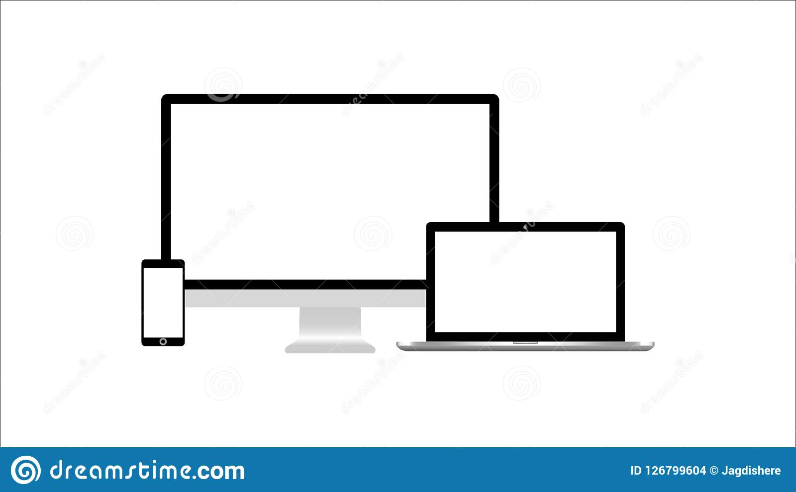 Isolated Desktop Monitor Laptop Tablet And Smartphone Mock Up On
