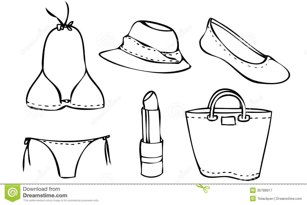 Isolated Illustrated Vector Set Of A Beach Outfit For A