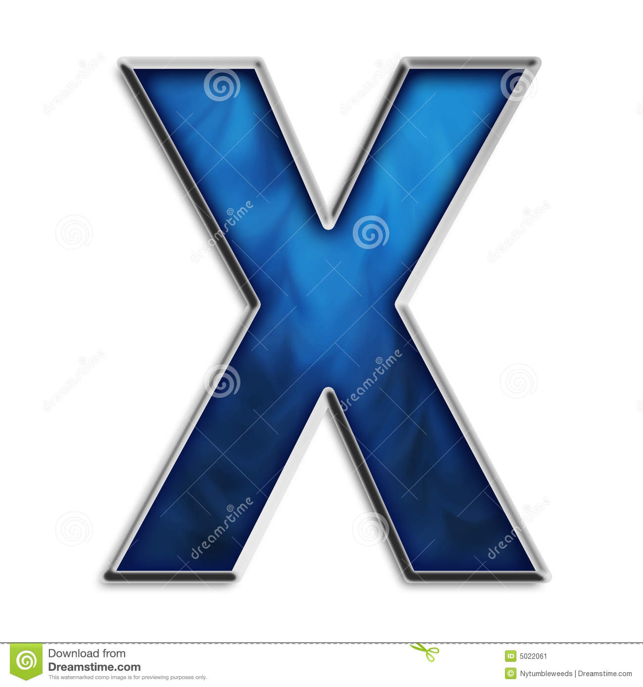 Isolated Letter X In Tribal Blue Stock Image