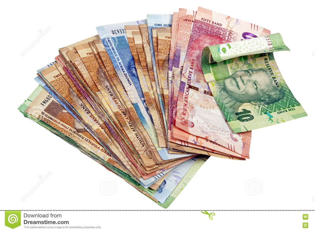 Isolated Spread South African Rand Notes On White Stock