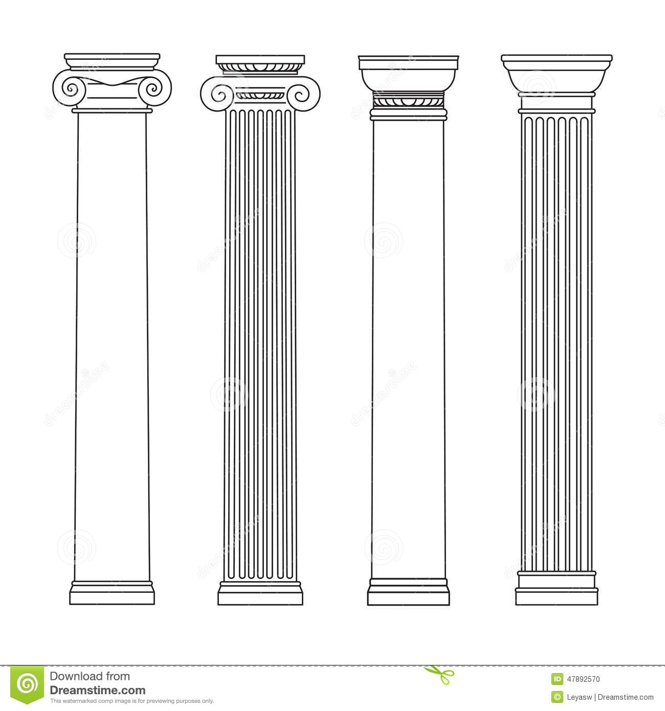 Isolated Vector Set Of Columns Black And White Line