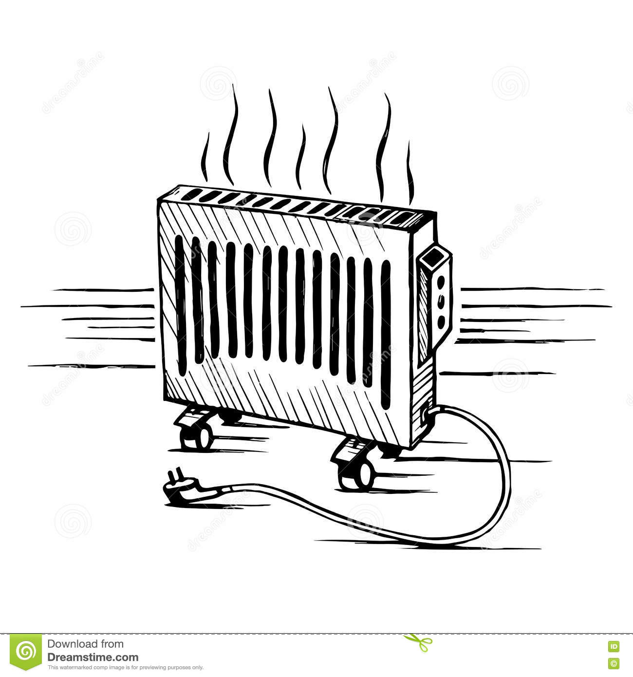 Isometric Convector Appliances Heater Sketch Vector