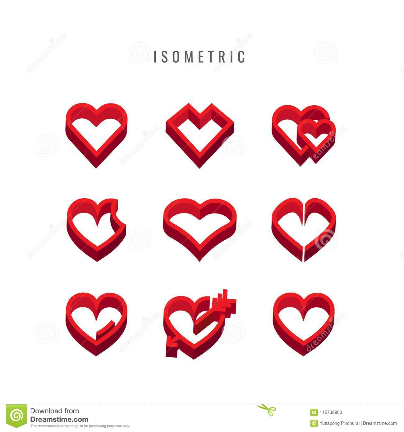 Isometric Icon Valentine Heart Shapes Collection Design
