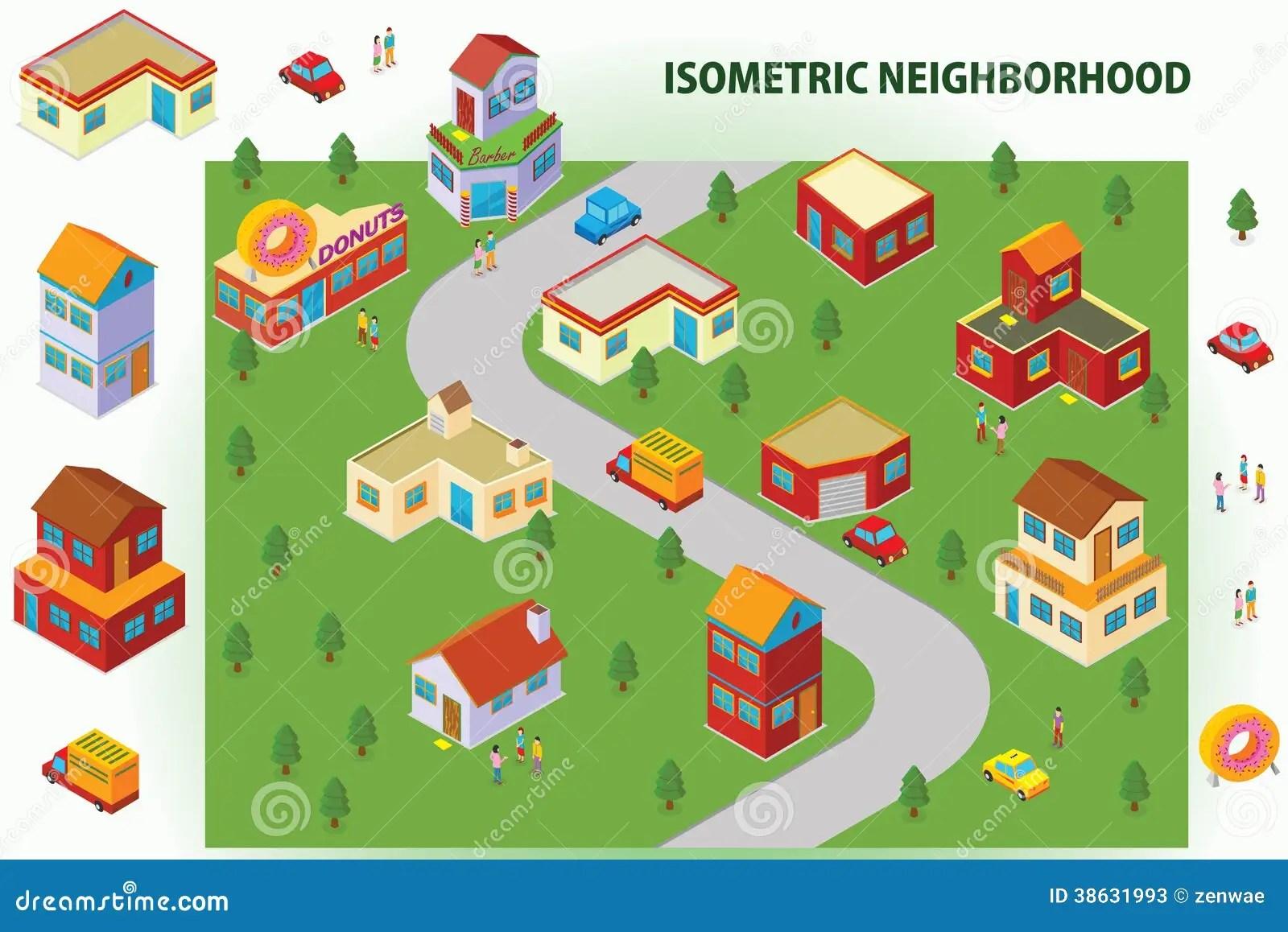 Isometric Neighborhood Stock Illustration Illustration Of
