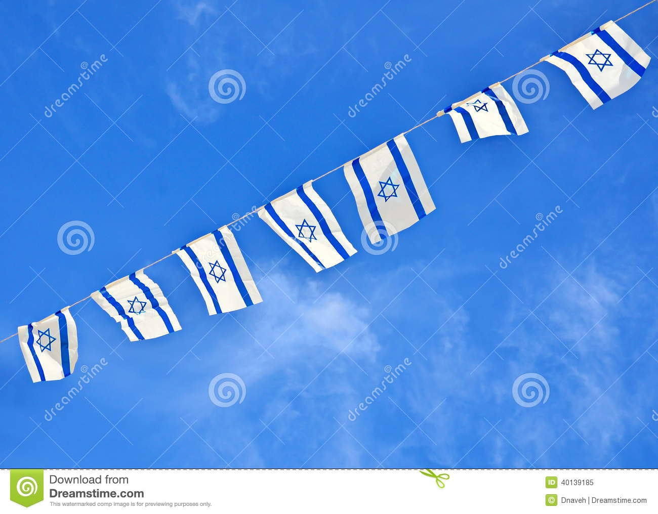 Israel Flag Chain On Independence Day Stock Image