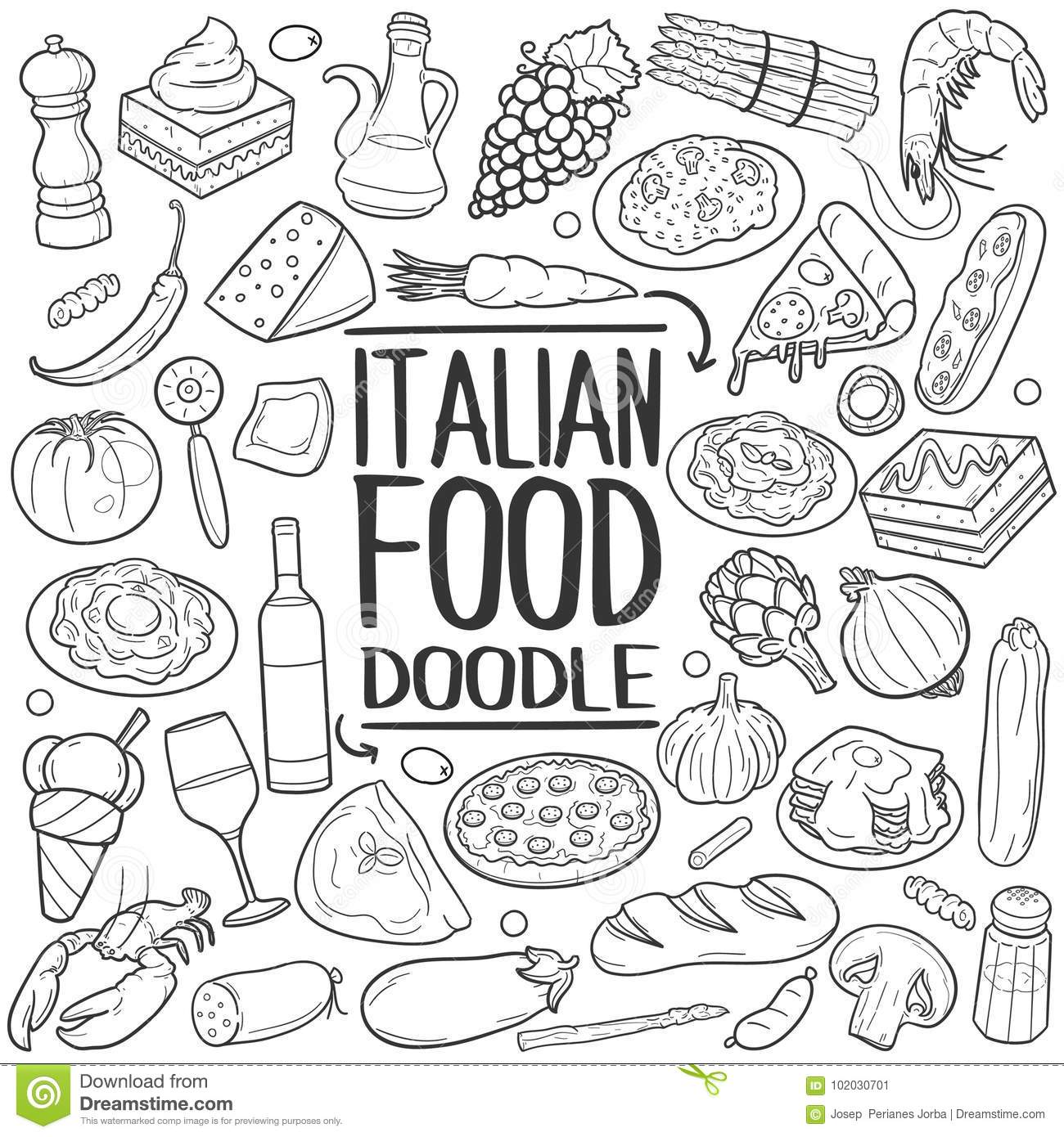 Italian Food Traditional Doodle Icon Hand Draw Set Stock