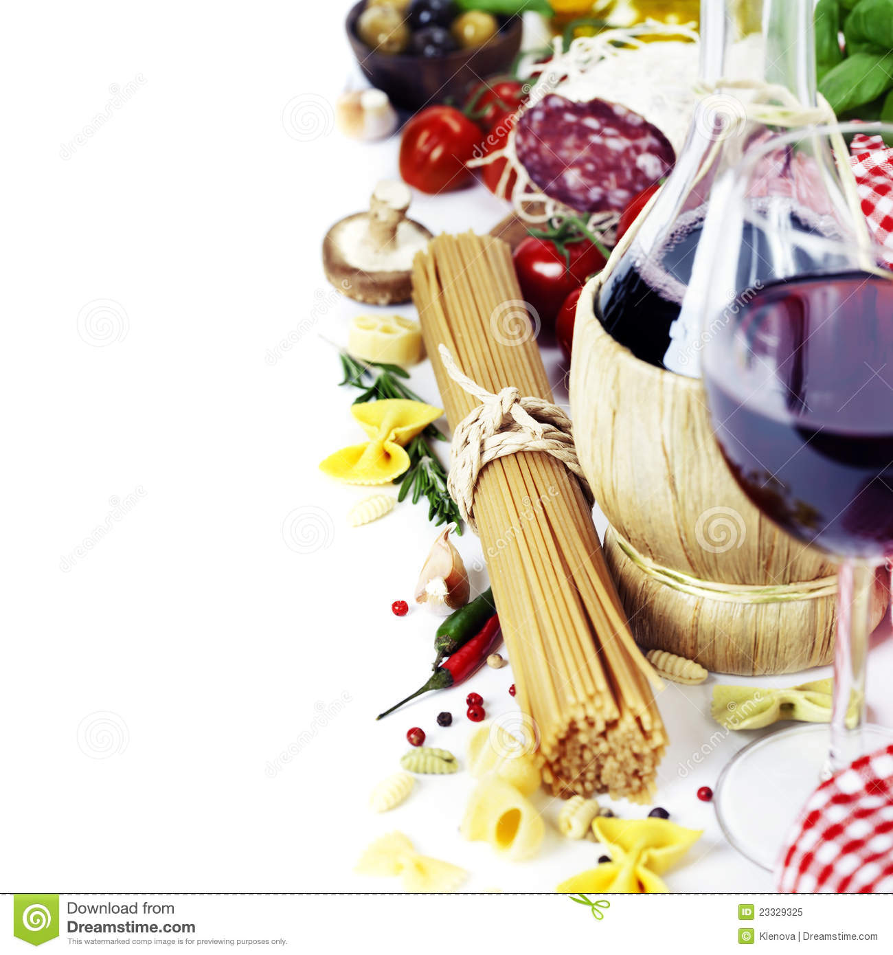 Italian Food And Wine Royalty Free Stock Photo Image