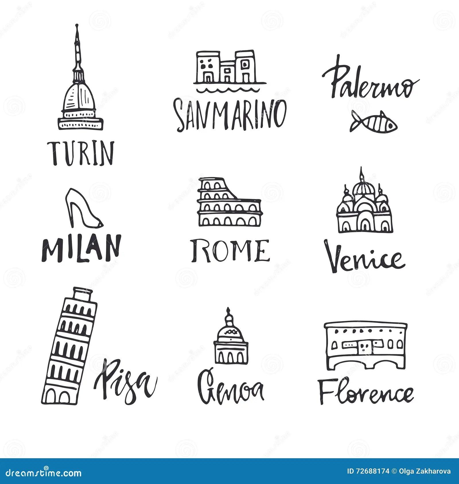 Italian Symbols Vector Illustration